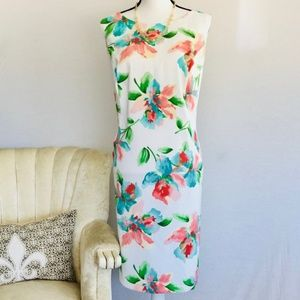 ALYX floral sheath dress white peach turquoise